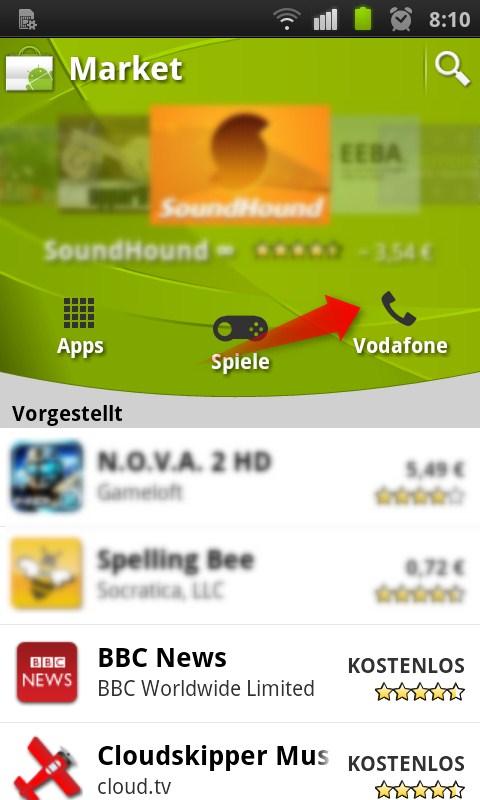 Vodafone integriert eigenen Channel in den Android Market